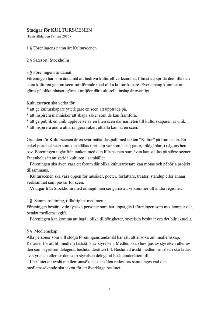 Stadgar för KULTURSCENEN (2)